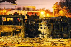 Overview of the barricade at Hrushevskogo street in Kiev, Ukrain Stock Photo