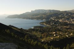 Overview of the Bay of Cassis. On the Riviera in France at sunset Royalty Free Stock Photo