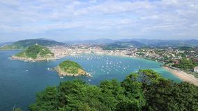Overview of the Bay of San Sebastian, Spain Stock Photo
