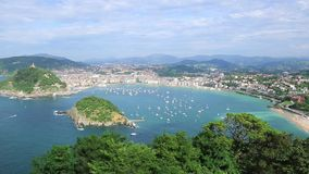 Overview of the Bay of San Sebastian, Spain stock video