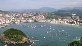 Overview of the Bay of San Sebastian, Spain Royalty Free Stock Photos