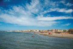 Overview of the beach and town of Ostia between the Mediterranean sea. Stock Photos