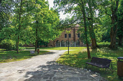 Overview of the beautiful and leafy Park Pareschi in the city center of Ferrara. Royalty Free Stock Photography