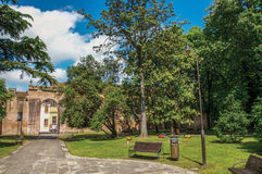 Overview of the beautiful and leafy Park Pareschi in the city center of Ferrara. Royalty Free Stock Image