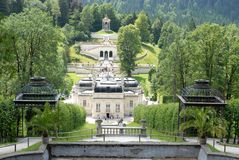 Overview, from behind Linderhof Castle in Bavaria (Germany), the garden Stock Images