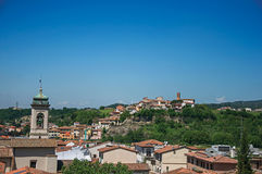 Overview of bell tower and buildings on top of the hill in Montelupo Fiorentino. Royalty Free Stock Photos