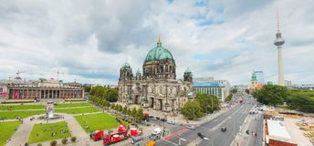 Overview of Berlin. BERLIN - AUGUST 21: Overview of Berlin with Berliner Dom on August 21, 2017 in Berlin, Germany royalty free stock images