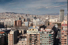 Overview of a big crowded city, Barcelona Stock Image