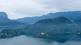 Overview of Bled Island on Bled Lake in Slovenia Stock Image