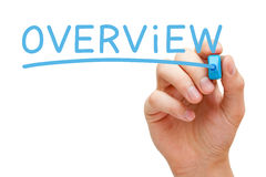 Overview Blue Marker. Hand writing Overview with blue marker on transparent wipe board stock image