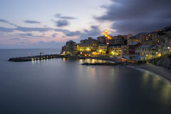 Overview of Bogliasco after the sunset Royalty Free Stock Photo