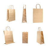 Overview of brown paper bag isolated on a white background Royalty Free Stock Photo