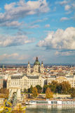 Overview of Budapest on a cloudy day Stock Photos
