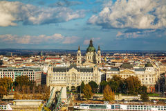 Overview of Budapest on a cloudy day Royalty Free Stock Images