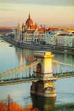 Overview of Budapest at sunrise Royalty Free Stock Images