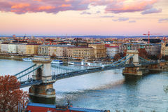 Overview of Budapest at sunset Royalty Free Stock Photo