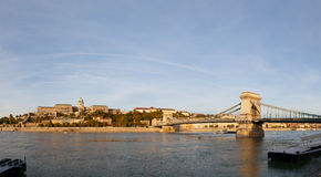 Overview of Budapest with Szechenyi chain bridge Royalty Free Stock Photography