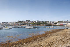 Overview Camaret Sur Mer village and harbor on a sunny day Stock Images