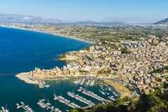 Overview of Castellammare del Golfo in Sicily, Italy Royalty Free Stock Image