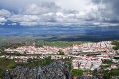 Overview of Castelo de Vide stock images