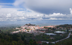 Overview of Castelo de Vide. Under an overcast heavy sky. Alentejo, Portugal Stock Images