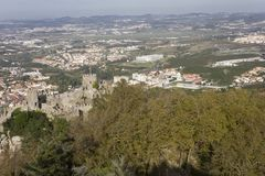 Overview of Castle of the Moors and Sintra cityscape Royalty Free Stock Photography