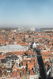 Overview of City of Bruges with Blue Sky Stock Photo