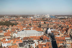 Overview of City of Bruges on Sunny Day Royalty Free Stock Photography