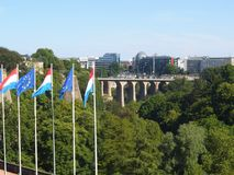 Overview of the city from the hill in Luxembourg. royalty free stock images