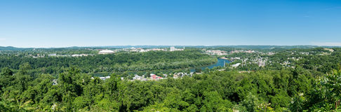 Overview of City of Morgantown WV. Panorama of Morgantown WV and campus of West Virginia University royalty free stock image