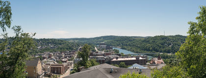 Overview of City of Morgantown WV. View of the downtown area of Morgantown WV and campus of West Virginia University royalty free stock image