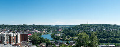Overview of City of Morgantown WV. View of the downtown area of Morgantown WV and campus of West Virginia University stock image