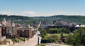 Overview of City of Morgantown WV. View of the downtown area of Morgantown WV and campus of West Virginia University royalty free stock photography