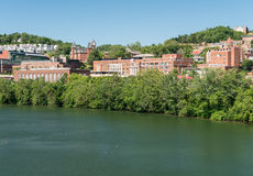 Overview of City of Morgantown WV. View of the downtown area of Morgantown WV and campus of West Virginia University stock photo