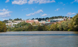 Overview of City of Morgantown WV. View of the downtown area of Morgantown WV and campus of West Virginia University from river bank stock photo
