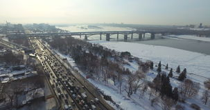 Overview of the city of Novosibirsk on a frosty day. From air stock video