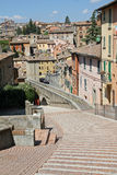 Overview of the city of Perugia and the ancient Roman aqueduct Stock Image