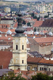 Overview of Cluj Napoca. City with tower of Franciscan Church in foreground Royalty Free Stock Photo