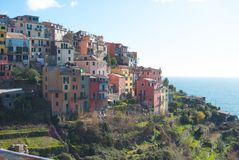 Overview of the colored houses and terraces of Corniglia - La Sp. Around Liguria in some of romantic and little countries - Italy Royalty Free Stock Photo