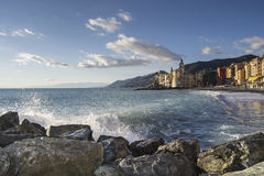 Overview of the costs of Camogli Stock Photo