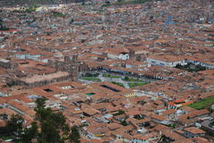 Overview of Cuzco and the Plaza de Armas Royalty Free Stock Photo