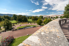 Overview and details of a typical French city park in the heart Royalty Free Stock Image