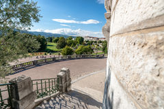 Overview and details of a typical French city park in the heart Stock Photos
