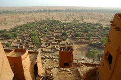 Overview of a Dogon village through mud dwellings Stock Photography
