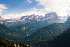 Overview on the Dolomites with glacier of Adamello Brenta during stock images