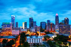 Overview of downtown Charlotte, NC. At night royalty free stock photography