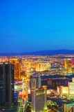 Overview of downtown Las Vegas in the night Stock Images