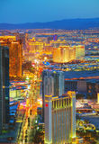 Overview of downtown Las Vegas in the night Royalty Free Stock Photo