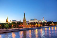 Overview of downtown Moscow at night time Stock Photos