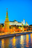 Overview of downtown Moscow at night time Royalty Free Stock Images